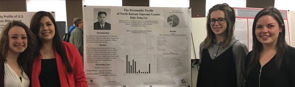 "Franchesca Cromett, Meghan Keaveny, Meg McMahon, and Kristen Jacobs present ""The Personality Profile of North Korean Supreme Leader Kim Jong Un"" at the College of St. Benedict, St. Joseph, Minn., April 27, 2017."