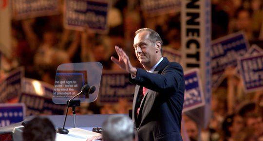 Former Sen. Bill Bradley speaks at the Democratic National convention in Los Angeles, Calif., in August 2000. (Photo credit: Robert Harbison/The Christian Science Monitor/FILE)