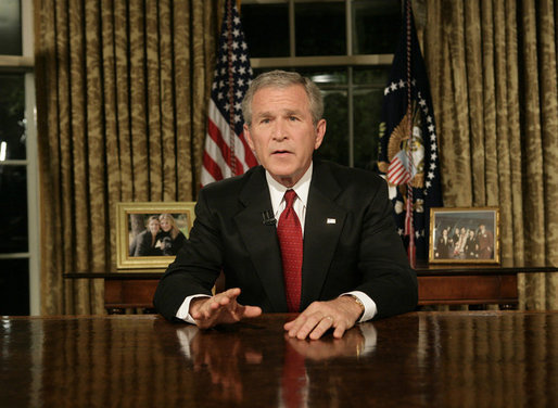 George W. Bush addresses the nation subsequent to the 9/11 terrorist attacks.