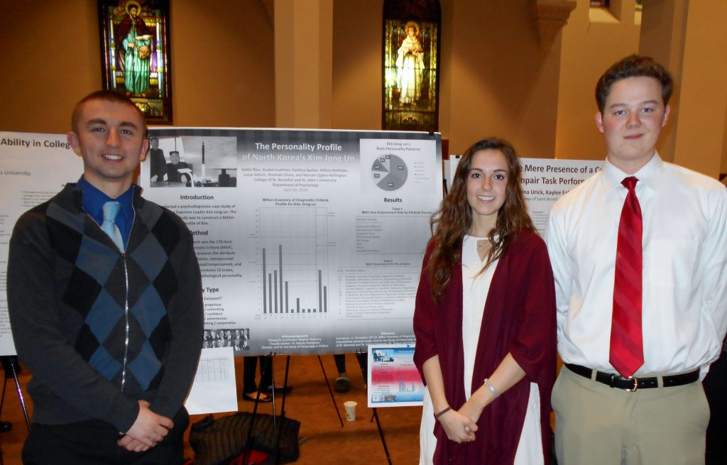 "Lucas Vetsch, Amanda Olson, and Austen Luetmer, present ""The Personality Profile of North Korea's Kim Jong Un"" at St. John's University, Collegeville, Minn., April 26, 2018."