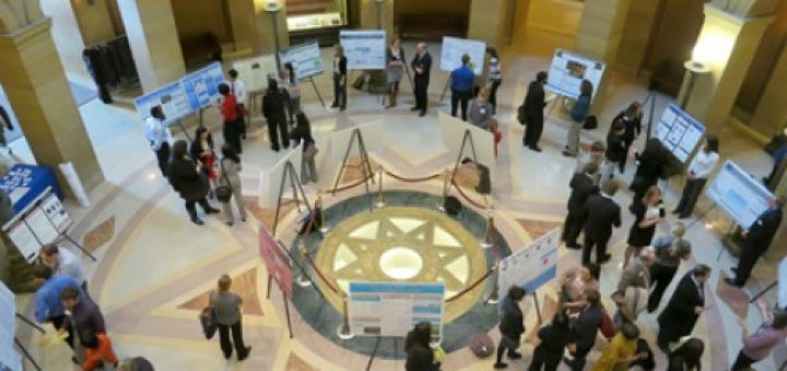 Minnesota private college students present their scholarly research in the Capitol rotunda.