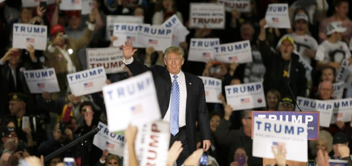 Trump greets supporters at a rally in Davenport, Iowa. The candidate seems to test his messages at rallies.