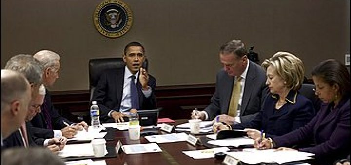 President Obama meets with members of his administration in the Situation Room.
