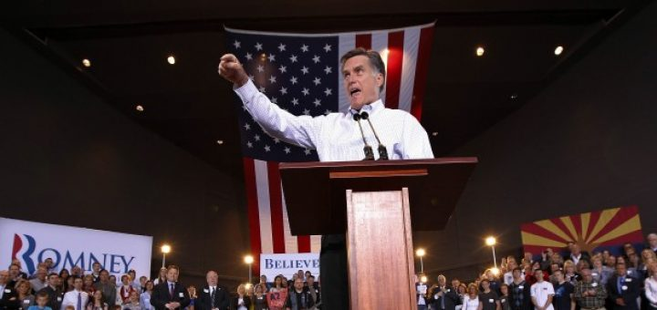 Republican presidential candidate and former Massachusetts governor Mitt Romney speaks at a campaign rally in Mesa, Ariz., Feb. 13, 2012.