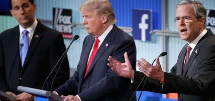 Donald Trump, center, has led the charge against Jeb Bush, right, who is also well-funded and considered one of the favorites. Jeb Bush fields a question in the Aug. 6 Fox News debate as Wisconsin Gov. Scott Walker and Donald Trump look on.