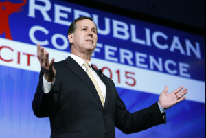 Former Pennsylvania senator Rick Santorum, seen here speaking at a rally in Oklahoma City, Feb. 9, 2012, has emerged as Mitt Romney's leading challenger for the GOP presidential nomination.