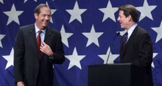 Image of 2000 Presidential candidates Bill Bradley and Al Gore