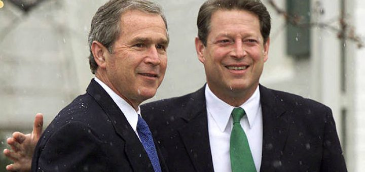 President-elect George W. Bush meets with Vice President Al Gore at Gore's official residence in Washington, Dec. 19, 2000.