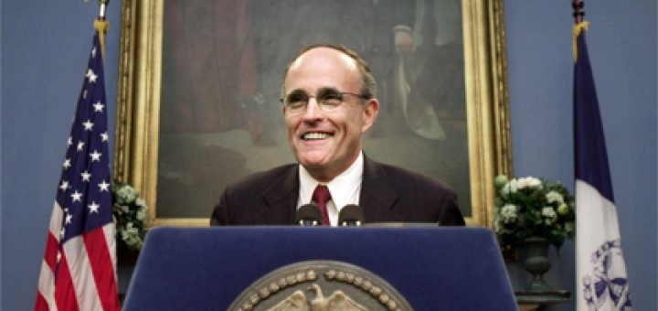 Rudolph Giuliani is seen while Mayor of New York City holding a news conference at City Hall - New York, NY - Apr 27, 2000