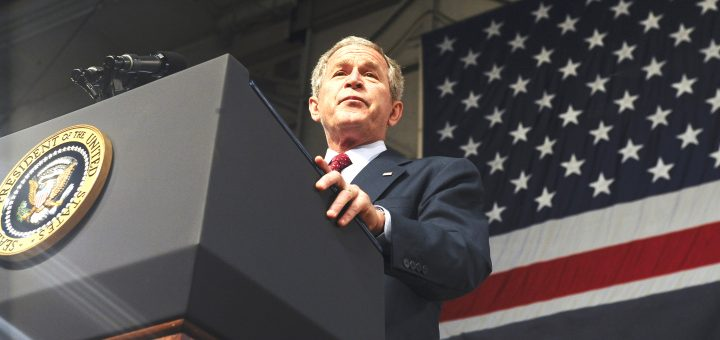 President George W. Bush addresses a crowd of more than 2,000 military personnel on Eielson Air Force Base, Alaska, Aug. 4, 2008.