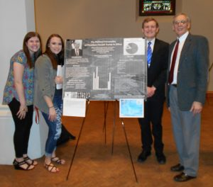 "Meghan Keaveny, Emily Berg, Thomas Baker, Cassidy Smith, Jamie McCarthy, and Erin Titus (advised by Dr. Aubrey Immelman) presented their research, ""The Political Personality of President Donald Trump in Office,"" at Scholarship Day, April 26, 2018."