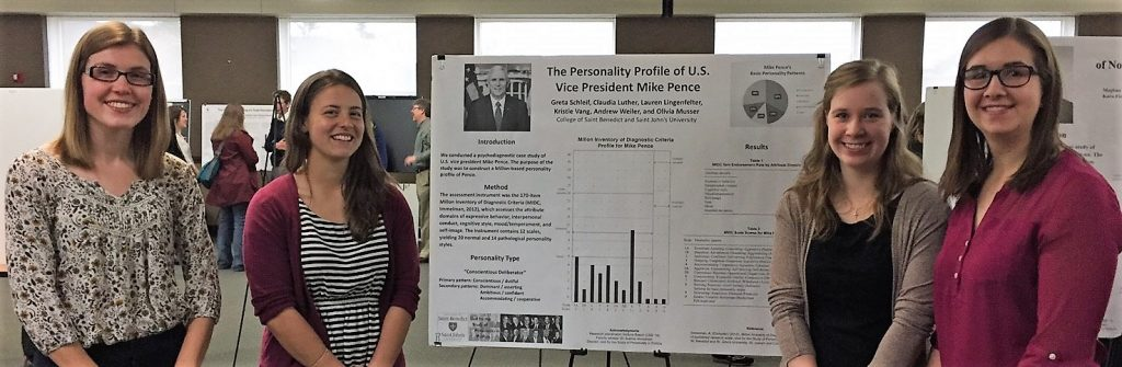 "Olivia Musser, Lauren Lingenfelter, Claudia Luther, and Greta Schleif present ""The Personality Profile of U.S. Vice President Mike Pence"" at the College of St. Benedict, St. Joseph, Minn., April 27, 2017."